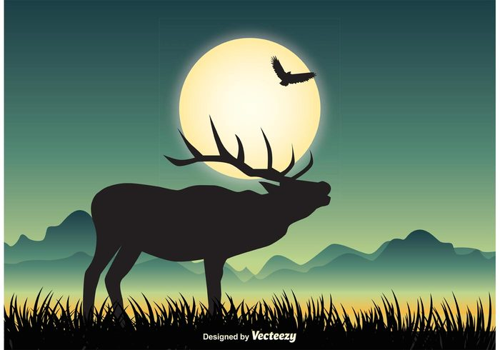 woods wildlife wilderness vector valley sunset sun spring silhouette shot seasonal season scene peaceful scene peaceful panoramic nature landscape nature muse mountain morning moose silhouette moose moon scene moon mist leaf landscape illustration hunt Horned growth grass forest foliage floral elk design cliff brown botany beautiful background autumn art animal
