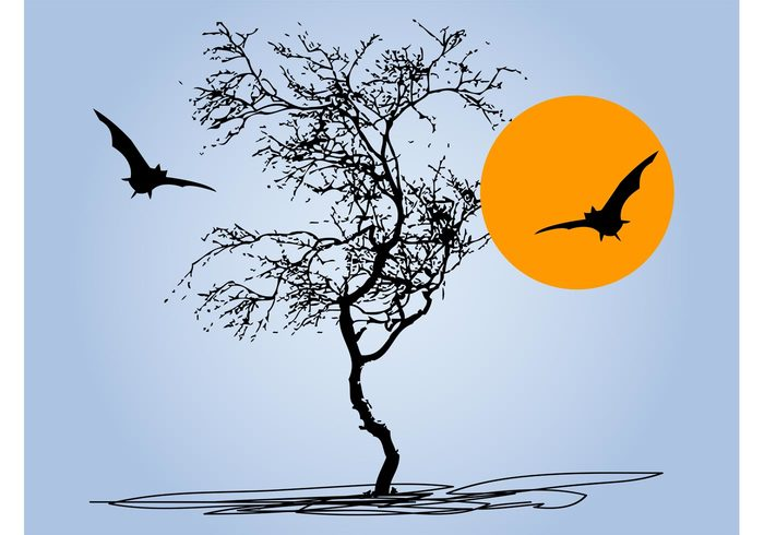 twigs trunks tree silhouettes scary nature moon horror halloween full moon flying fly flora fauna branches bats animals