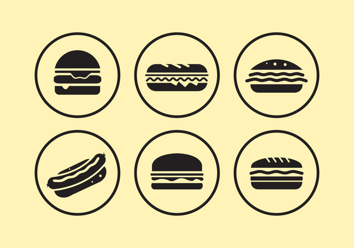 symbol sub snack sandwich panini sandwich minimal meat meal lunch lettuce isolated illustration icons hamburger food fast eat design delicious club sandwich Cheeseburger cheese burger bun bread black american