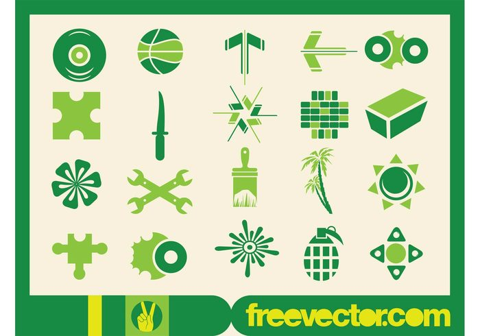tools symbols stickers silhouettes puzzle plants palms music logos knife icons flowers decals ball arrows abstract
