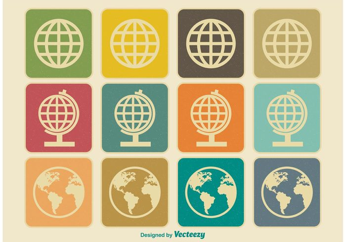 world white web vintage icons vintage vector touch symbol sphere sign set science retro icons retro planet icons planet old ocean map land isolated international illustration icon set icon globe global geography Europe element earth design continent collection black ball america