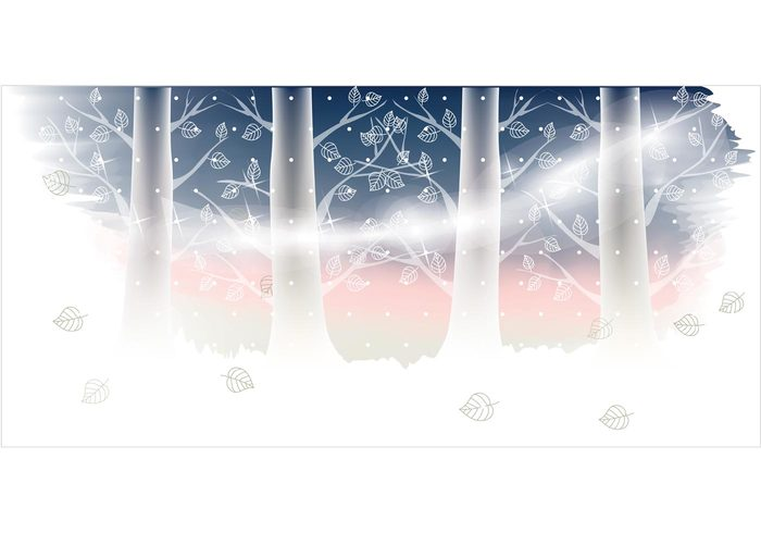 winter tree snowy snow flakes snow season scene mist landscape illustration freebies festive cool cold christmas banner background