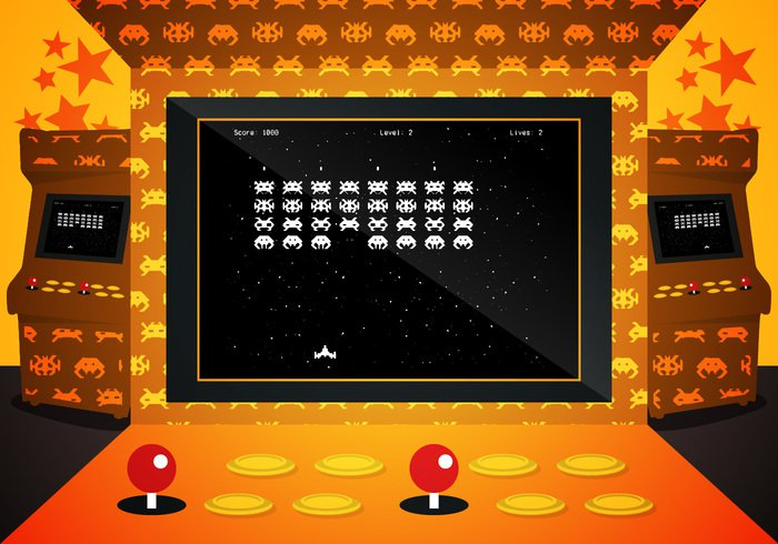 vintage video vector UFO space score rocket retro Recreation play pixelated pixel old monster machine joystick Invader interface illustration graphic geek gaming game galaxy funny fun digital design controller control console computer colorful character cartoon button bullet background art arcade button arcade 80's 8 bit