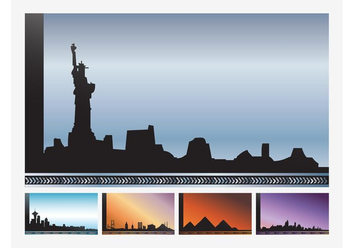 urban Tokyo Statue of Liberty Skylines silhouettes pyramids new york monuments landmarks Istanbul egypt Cityscapes city cities buildings Backgrounds architecture