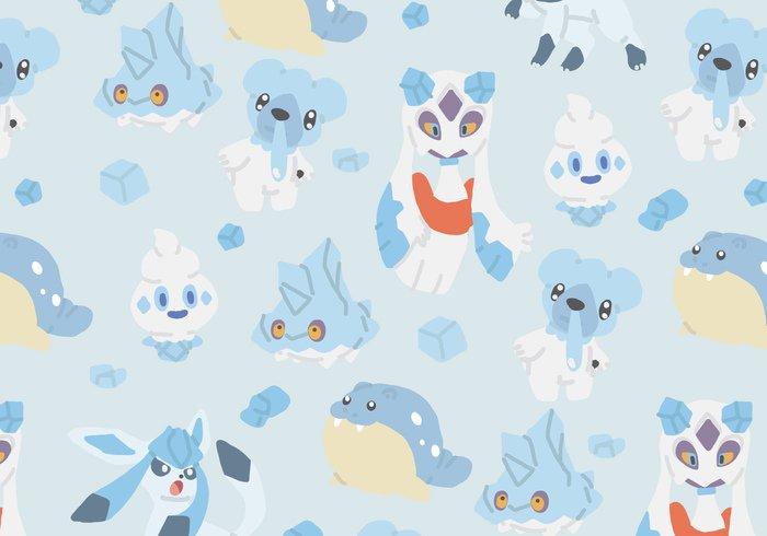 vanillite type spheal repeat Pokemon pattern ice glaceon froslass cubchoo bergmite background