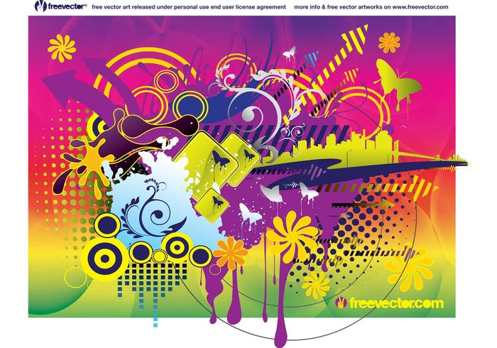 Vector clip art summer spring rainbow joy fun flowers Design theme Composition colors colorful circles badge background arrows