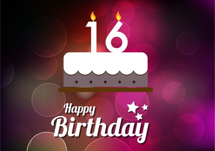 vector template symbol sweet 16 sweet stamp Sixteenth sixteen post old light letter layout label isolated greeting graphic decoration creative concept ceremony celebration card Candlestick birthday background abstract 16th 16