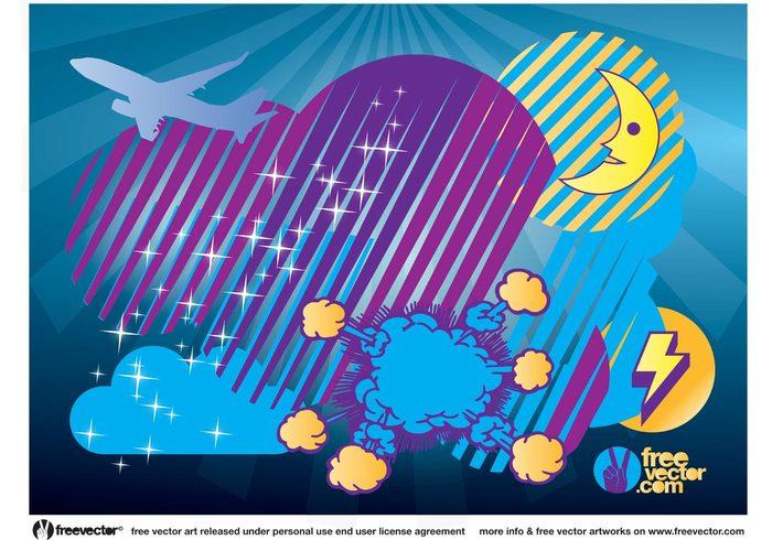 wind Vector cartoon sky nature vector Moon vector lightning explosion Design Elements clouds blowing Background graphics