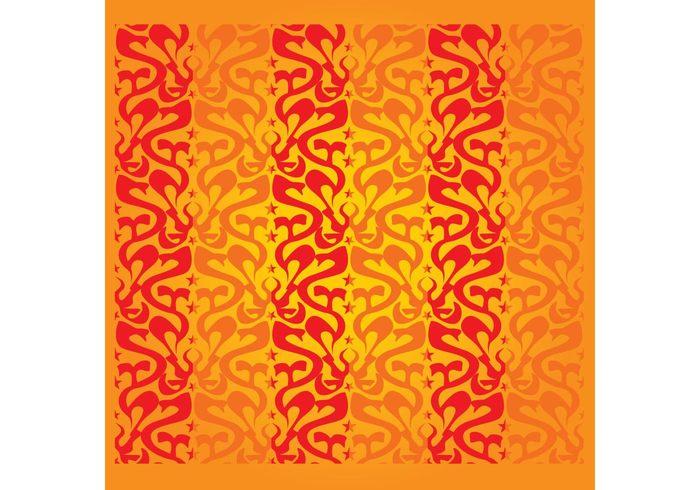 wallpaper tile Textile stars sixties seventies seamless retro repeating pop art pattern ornamental organic curves background backdrop