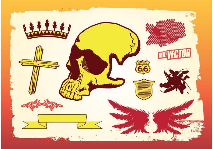 wings urban skull set ribbon paint pack flourishes flourish floral drips dead crown cross cool bundle banner