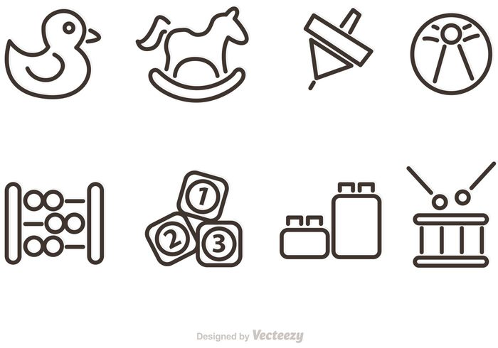 Outlined Baby Toy Vector Icons 147535 Welovesolo