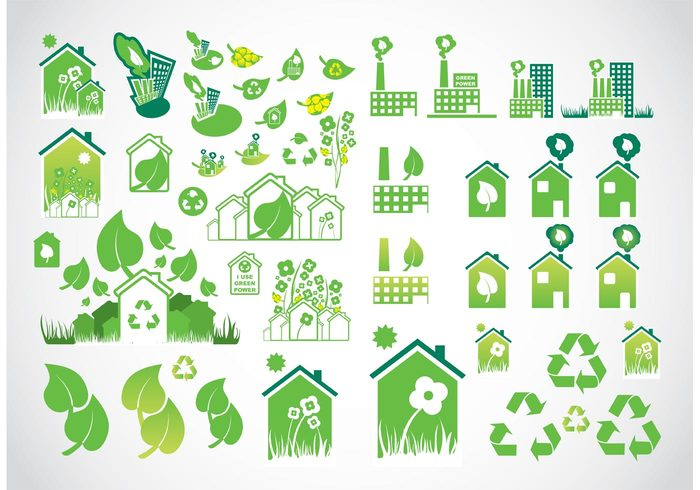symbol recycling recycle protect nature logo leaf industry icons icon house Green power green globe factory environment ecology ecological