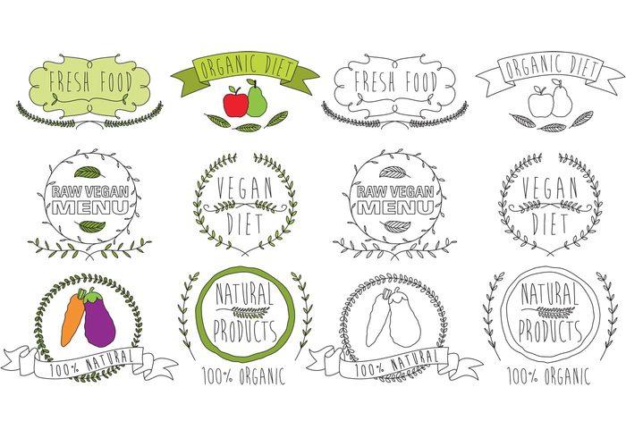 vintage vegetarian vegetable vegan diet vegan sticker raw quality product plant organic nutrition nature natural logo leaf label Healthy health hand drawn logo green fresh logo fresh food fresh food emblem eco diet badge Diet cooking boho logo boho badge