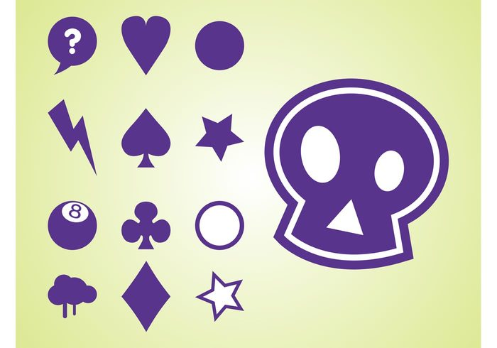 symbols stars spades skull playing cards logos lightning icons hearts heart diamonds decorations clubs circles card suits abstract