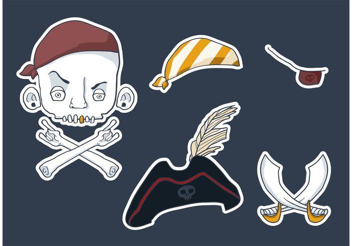 sword skull and bones skull skeleton sea pirate sword Pirate hat pirate patch mercenary hat flag Eye patch dead caribe bandana