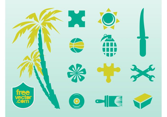 wrench vinyl record trees toolbox symbols stickers puzzle palms music logos knife jigsaw icons decals CD brush