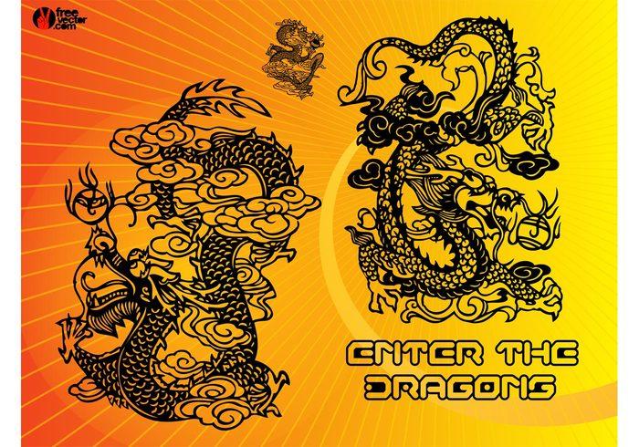 zodiac year tribal tattoo symbol sign fantasy east drawing dragons dragon chinese china Asian asia animal ancient 2012