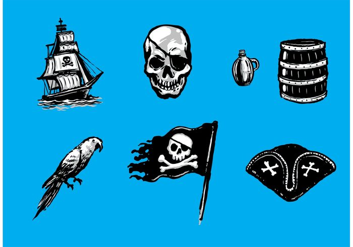 wooden barrel treasure skull and crossbone skull ship pirates pirate ship Pirate hat Pirate flag pirate parrot grenade crossbones crossbone barrel