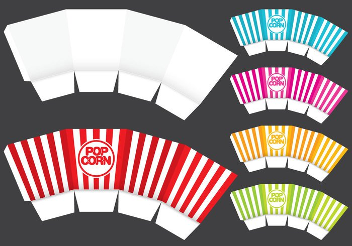 yellow white vector template symbol striped snack red popcorn box popcorn pop packaging object natural isolated illustration icon Healthy food design delicious corn cinema box background abstract