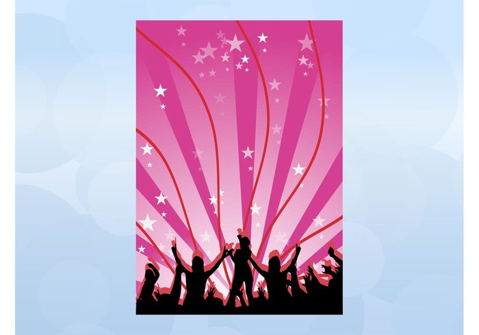 waving waves stars starburst rays poster people nightclub music flyer disco dancing dance crowd club background