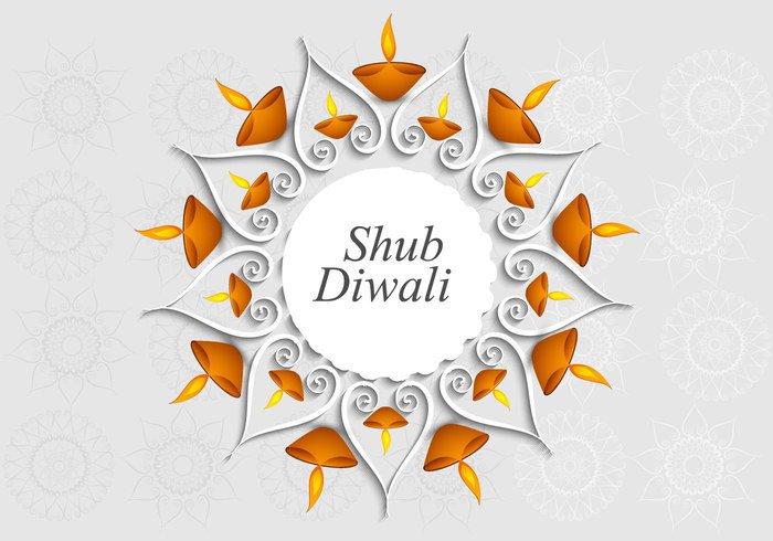 wishes paper lamp gray flora festival diya Diwali design curve circle celebration card background art