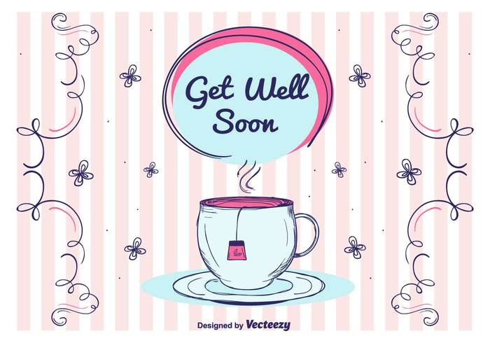wishes vector text relax postcard mug healty health Get Well Soon Vector Card get well soon Get Well cute cup care card background