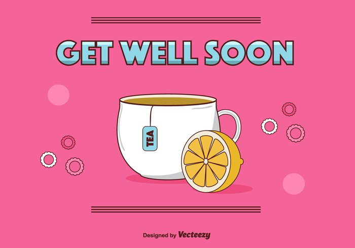 wishes text relax postcard mug healty health ginger tea Get Well Soon Vector Card get well soon Get Well cute cup care card background