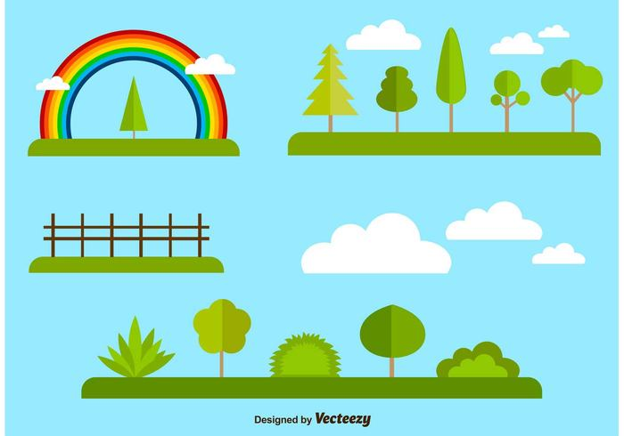 wood tree template summer spring set season rainbow pine nature natural industry illustration green forest flat elements ecology eco collection branch botany
