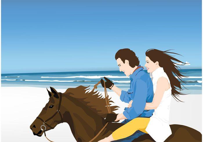 woman sea sand romance rider ride people Outdoor ocean nature man love landscape horse couple brown beauty beach bay