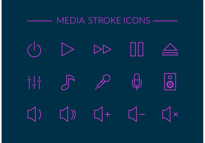 website web volume vector ui thin symbol stroke speaker sound slim sign set play pause outline on off button next music note music mixer microphone media player media line kit infographic icon forward element eject digital design contour background application app