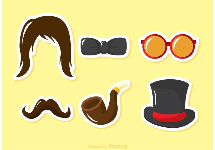 Wig top hat tie theater smoking mustache moustache humor hat hair glasses fashion dress up costume Cartoons bow tie bow