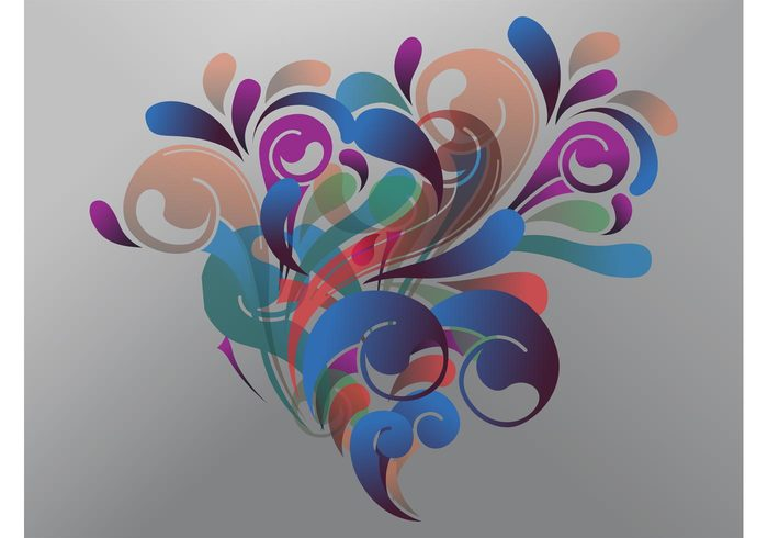 swirls swirling shapes plants petals ornate leaves foliage flowers flourish floral drops decorative decorations curved curled