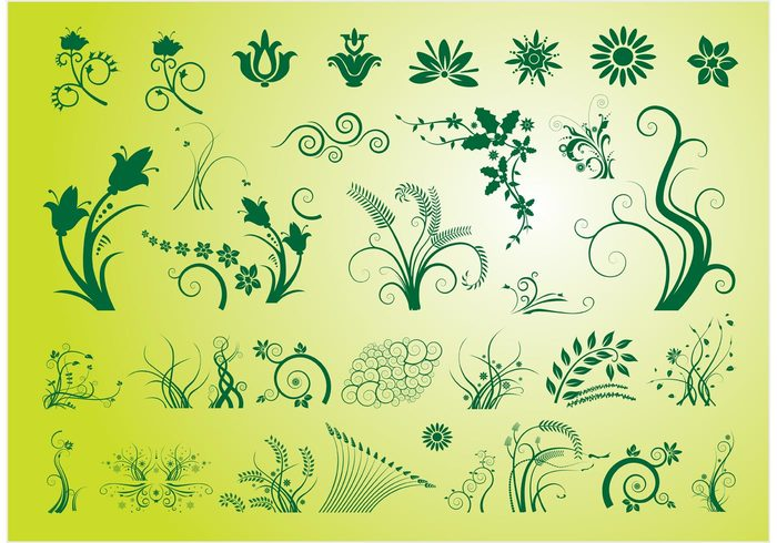 tulip Tradition swirls stem scrolls scroll vector rose plants nature growing green garden elegant circles christmas