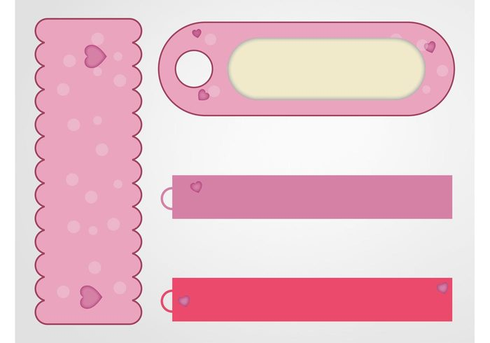 valentines day templates sweet strips romance Rectangles playful pink original love logos icons hearts Girlie cute buttons banners