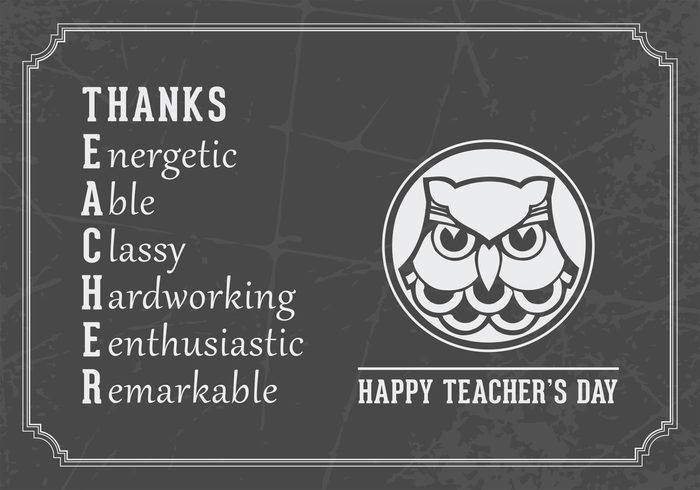 vector typography Tone template teaching teachers day teacher Styling schoolteacher quote postcard pattern owl Lettering image illustration grey greeting gray festive educator education design decor chalk card board blackboard black background art