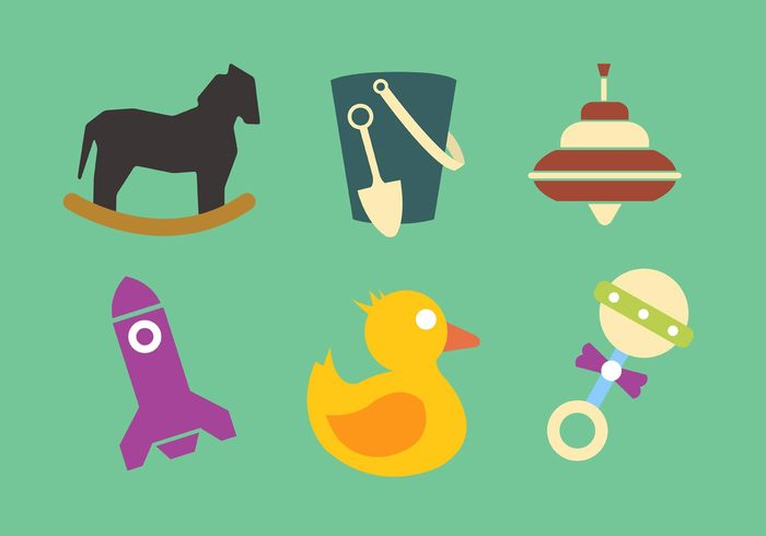 white toys toy rubber duck rocking horse rocket play kids kid joy illustration icon horse game fun flat duck collection child background baby