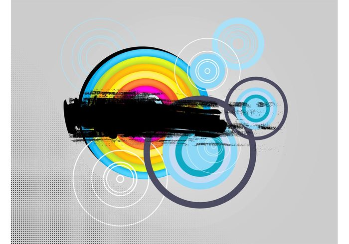 wallpaper Street Art round rainbow pattern graffiti geometric shapes dots concentric circles colors colorful background Backdrop image