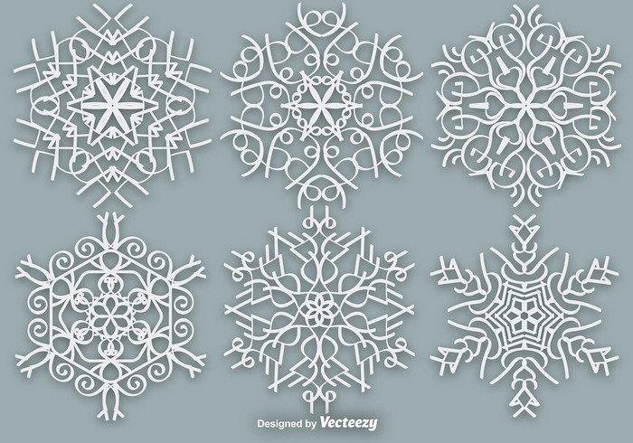 year xmas winter white traditional symmetric star snowflake snowfall snow silhouette shape season paper ornament nature icon ice frozen frost flake crystal collection cold christmas beauty beautiful background abstract