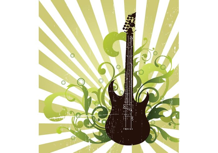 rock poster music live illustrator illustration Hard rock guitar grunge freehand flyer Flash element CorelDRAW concert background