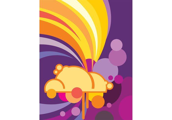 wallpaper vector art sky rainbow pop nature modern graphics colorful cloud circles bubbles Adobe Illustrator abstract