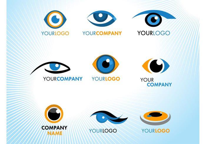 visual Vision see orange optical Optic logos icons eyes eye emblem corporate business branding blue