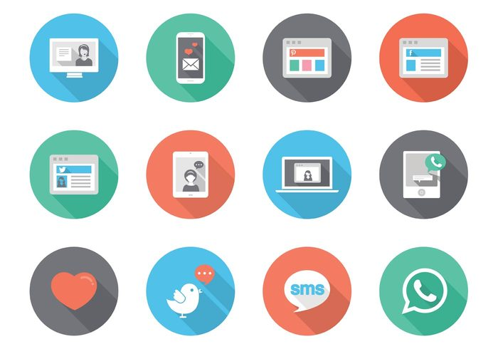 whatsapp icon web vector twitter text message telephone technology tablet symbol social sms simple sign set pinterest pictogram photo object message media mail love laptop internet interface Idea icon heart graphic flat file Facebook email elements development design creative computer chat case business application