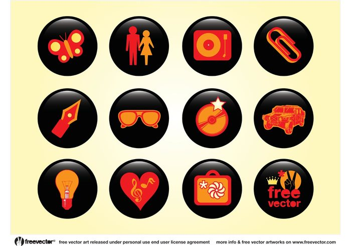 Woman people symbol sunglasses record player pen paperclip man lamp icons hummer heart graphics clip art CD car buttons button butterfly