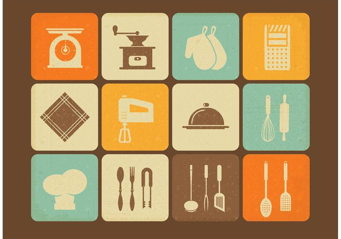 vintage kitchen utensils vintage vector utensil towel symbol spoon Spatula Simplicity set scales retro restaurant objects Measuring life kitchen image illustration icon household grater food equipment eps10 element design cooking collection Coffee grinder buttons Backgrounds art 1940-1980