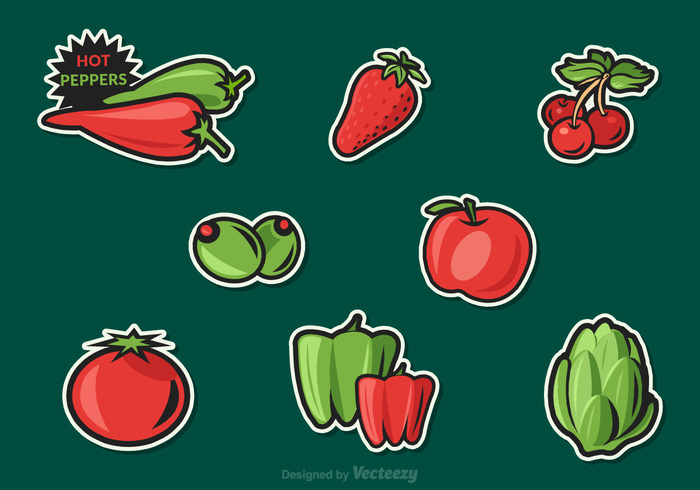 vitamin vegetables vector tomato sticker snack red plant paprika olives nutrition natural mineral illustration Healthy green hot pepper green graphic fruit fresh drawing collection clip cherry cartoon artichoke art apple