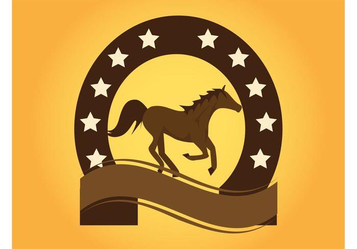 wild west wild western text field template stars running run rodeo ribbon mane line horseshoe horse vector cowboy company brand