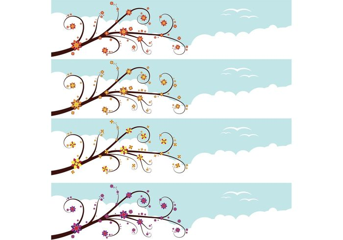 weather trees tree spring sky skies season outside nature growth grow flowers clouds cloud birds banner background