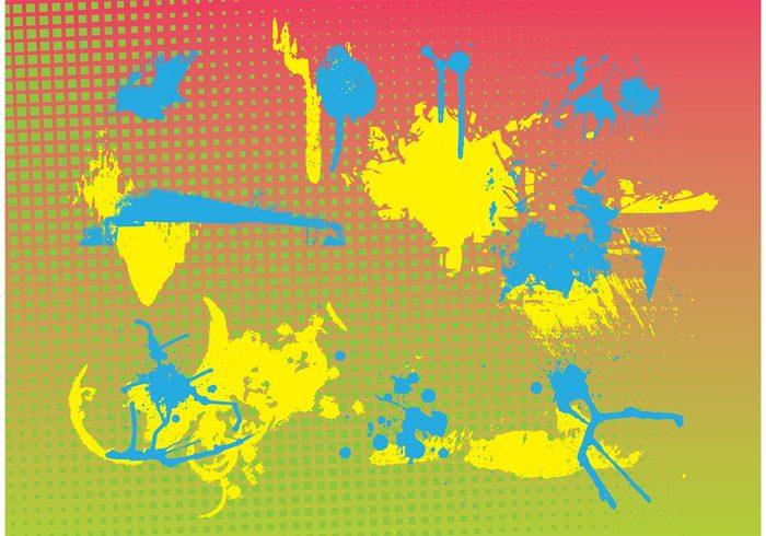 stains splatters Paint stains liquid Ink splatters halftone pattern grungy Grunge design gradient background Dirty vector