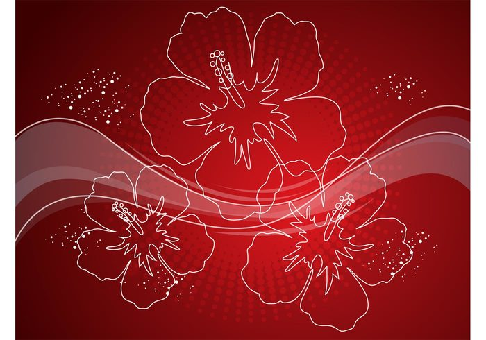tropical swoosh swirl red radiant nature halftone free backgrounds flowers floral exotic Deep red curves blossoms