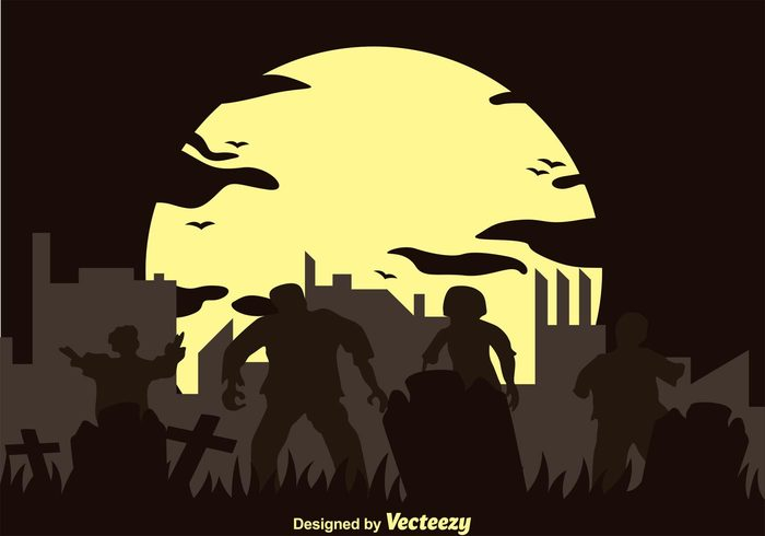 zombie wallpaper zombie silhouettes zombie silhouette zombie background zombie walking dead walking town Tomb silhouette scary moon horro halloween Grave grass dead cross cemetery
